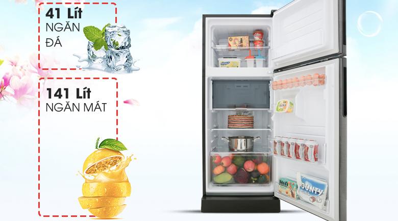 Dung tích 182 lít - Tủ lạnh Sharp Inverter 196 lít SJ-X201E-DS